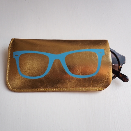 Gold Leather Sunglasses case with Sky Blue Print