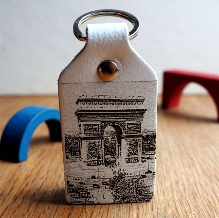 Photograph Engraved Leather Key Fob