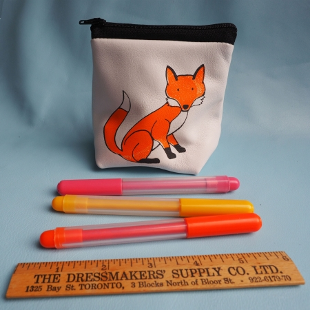Fox leather pouch purse