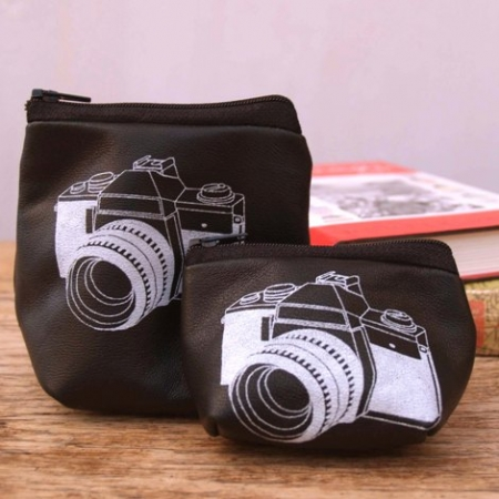 Black camera coin purse