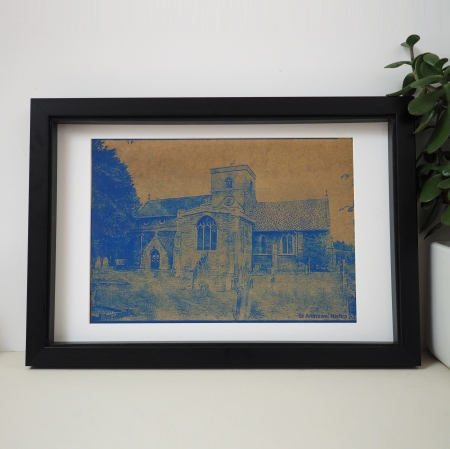 Blue Etched Wedding Venue Portrait