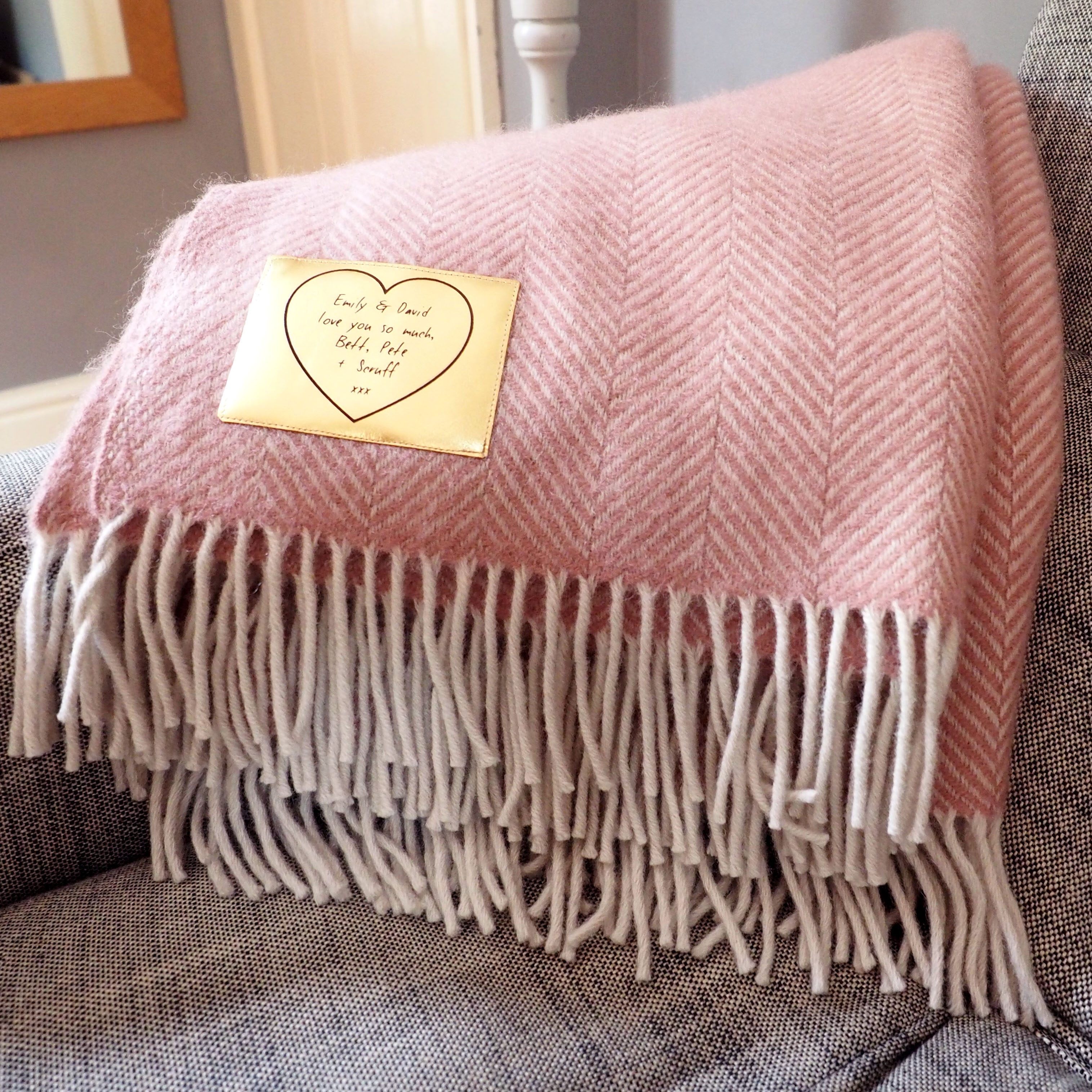Herringbone Throw Personalised With A Gold Patch Stabo