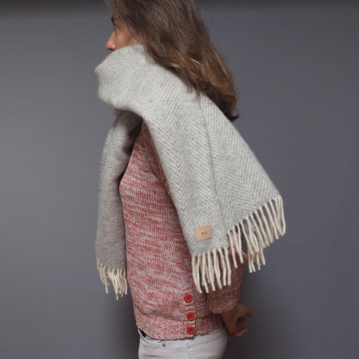 1dc7b0987 Silver Grey Personalised Blanket Scarf -Stabo
